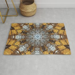 Golden stone, blue sky and arching branches kaleidoscope Rug