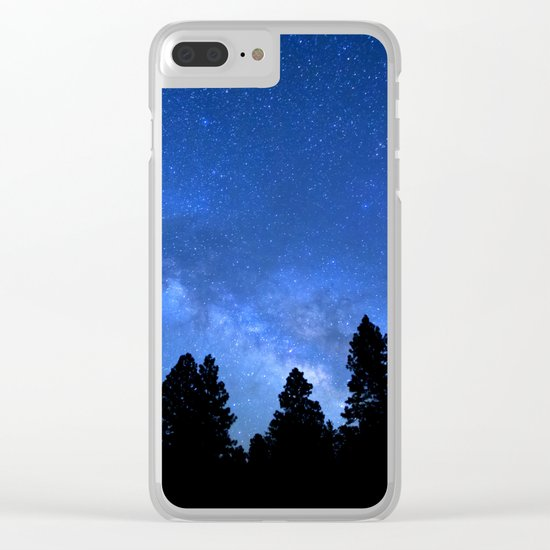 Milky Way (Black Trees Blue Space) Clear iPhone Case