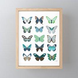 Green and Blue Butterflies Framed Mini Art Print