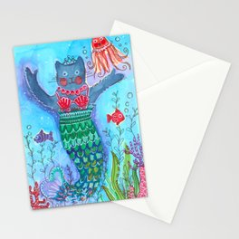 Merkitty Ink and Watercolor Mermaid Cat Stationery Cards