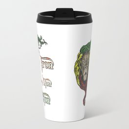 Reggae, Rasta, Rastafari Lion, Iron, like a Lion in Zion. Jamaican music, well known song quote Travel Mug