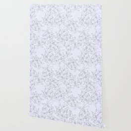 lavender line art floral pattern Wallpaper