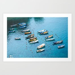 Colorful boats in the harbor of Cinque Terre, Italy | All blue | Summer has started | Italian art prints Art Print