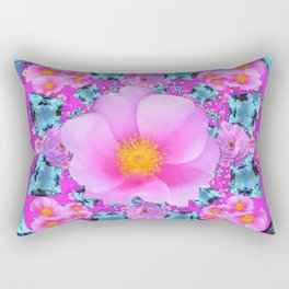 FUCHSIA PINK GARDEN ROSES & AQUA MARCH BABYGEMS Rectangular Pillow