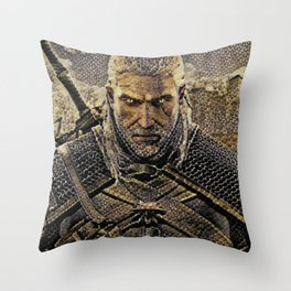 The Witcher Geralt Artistic Illustration Snake Style Throw Pillow