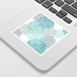 Floral Pattern, Aqua, Teal, Turquoise and Gray Sticker