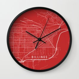 Billings Map, USA - Red Wall Clock