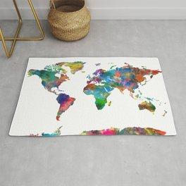 world map watercolor Rug