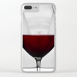 Red wine and naked woman Clear iPhone Case