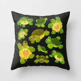 Red-eared slider (dark) Throw Pillow