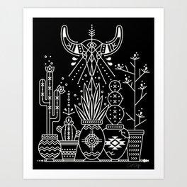 Santa Fe Garden – White Ink on Black Art Print