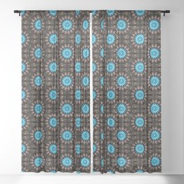 Stained Glass Starburst Pattern Sheer Curtain