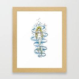 Coy little mermaid Framed Art Print