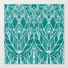 Turquoise Modern Leaves - blue white Canvas Print