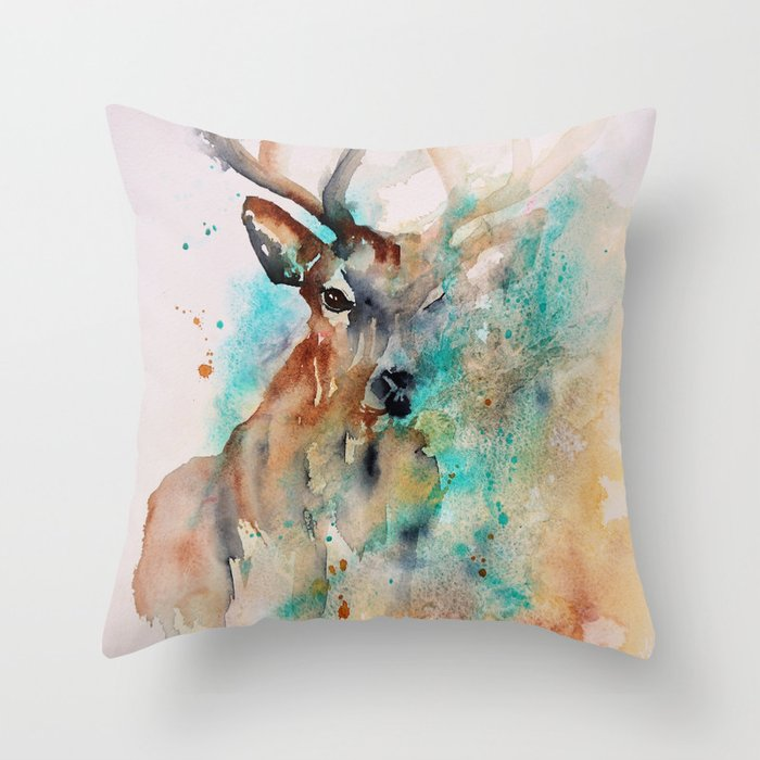 Abstract Deer Watercolor Throw Pillow