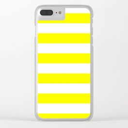 Horizontal Stripes - White and Yellow Clear iPhone Case