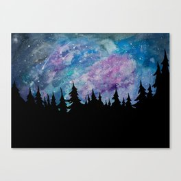 Galaxies and Trees Canvas Print
