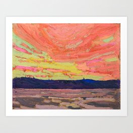 Tom Thomson - Sunset - Canada, Canadian Oil Painting - Group of Seven Art Print