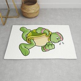 Turtle as Jogger with Sweatband and Headband Rug