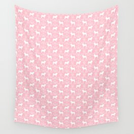 Pug silhouette florals pink pattern for pug dog lover pet pattern gifts Wall Tapestry