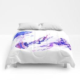Jellyfish, sea world marine blue aquatic shower purple blue design Comforters
