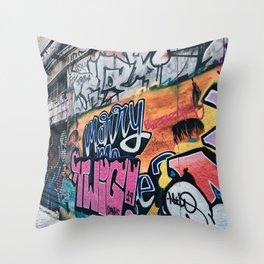 Side Walk Graffiti Street Art Throw Pillow