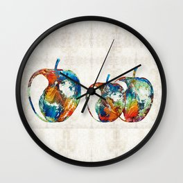 Colorful Apples by Sharon Cummings Wall Clock