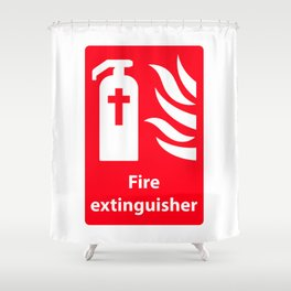 Fire Extinguisher For Hell - Christian Sign Illustration Shower Curtain