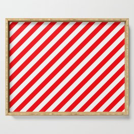 Christmas Red and White Candy Cane Stripes Serving Tray