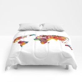 Map of The World 2 -Colorful Abstract Art Comforters