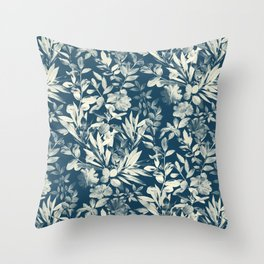 Moody Leaves in Grey Blue and Cream Throw Pillow