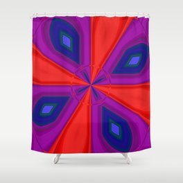 Red, Purple and Gold Quadrant Shower Curtain
