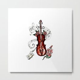 Brown Violin with Notes Metal Print