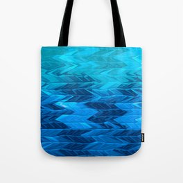 Blue Faded Chevron Tote Bag