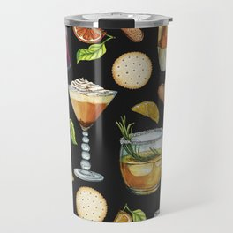 Cocktail and Biscuit Pattern Black Background Travel Mug