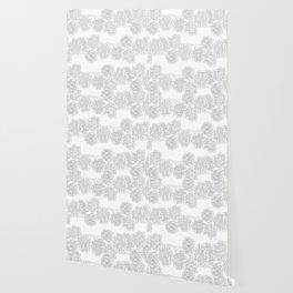 Butterfly Blue Flower Pattern Wallpaper