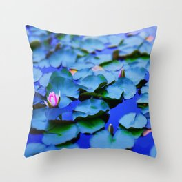 Water lilies in a pond Throw Pillow