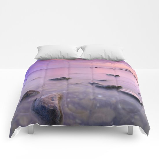 """Pink Sunset. Mediterranean sea."" Comforters"