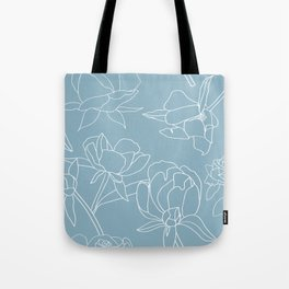 Roses, Line Drawing, White on Pale Blue Tote Bag
