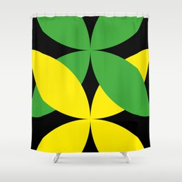 Green Yellow four-leaf clover in a strong deep dark black sky. They are hugging.They love each other Shower Curtain
