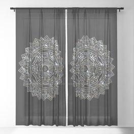 Aztec Mexican Silver Mandala Sheer Curtain