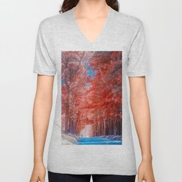 Autumn forest in mist path Unisex V-Neck