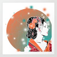 geisha Art Prints featuring GEISHA by ARCHIGRAF