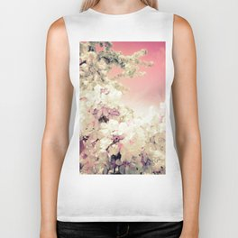 Pink Lavender Flowers Biker Tank