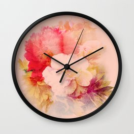 flowers on salmon background Wall Clock