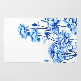 blue peonies Rug