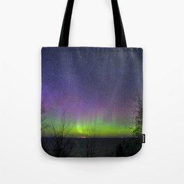 Aurora Borealis over Lake Superior Tote Bag