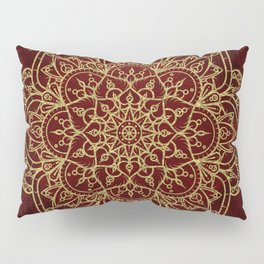 Deep Red & Gold Mandala Pillow Sham