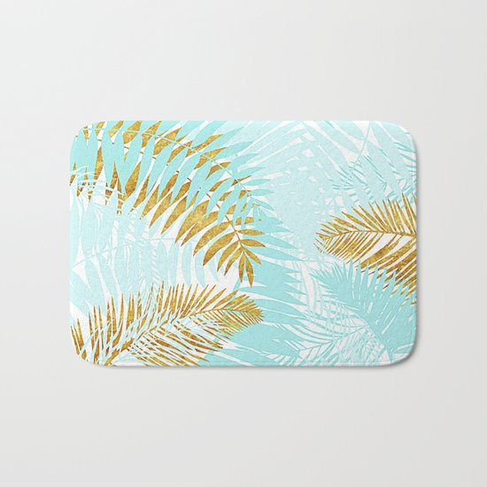 Aloha- Tropical Palm Leaves and Gold Metal Foil Leaf Garden Bath Mat