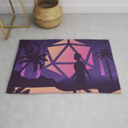 Synthwave Futuristic D20 Dice Moon Tabletop RPG Landscape Rug